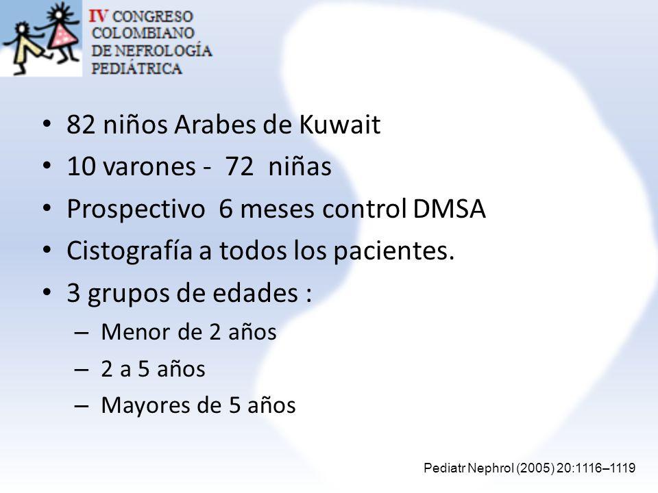 Prospectivo 6 meses control DMSA Cistografía a todos los pacientes.