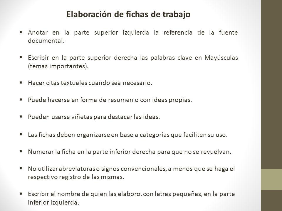 FICHAS DE TRABAJO: TEXTUALES, DE PARAFRASIS, DE RESUMEN, DE ...