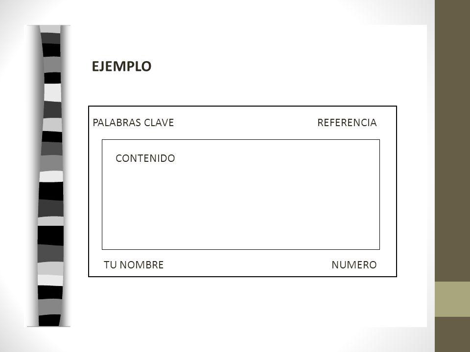 EJEMPLO PALABRAS CLAVE REFERENCIA CONTENIDO TU NOMBRE NUMERO