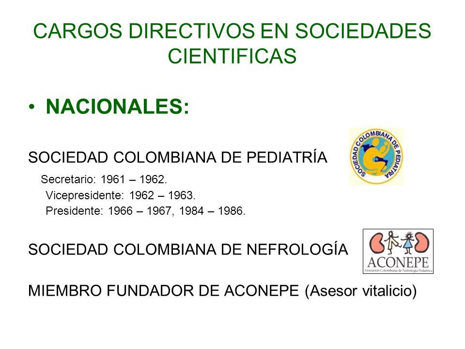 CARGOS DIRECTIVOS EN SOCIEDADES CIENTIFICAS