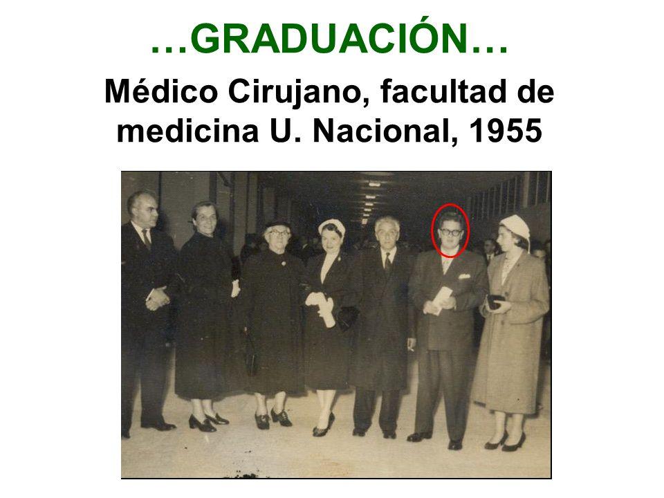 Médico Cirujano, facultad de medicina U. Nacional, 1955