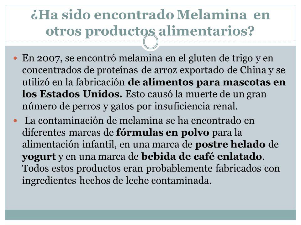 ¿Ha sido encontrado Melamina en otros productos alimentarios