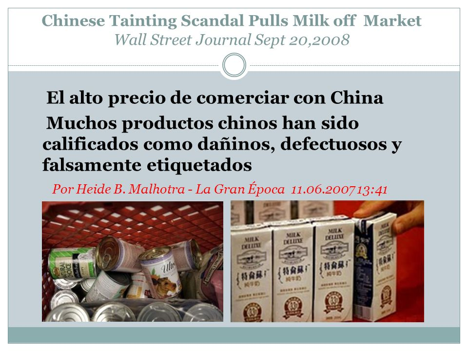 Chinese Tainting Scandal Pulls Milk off Market Wall Street Journal Sept 20,2008