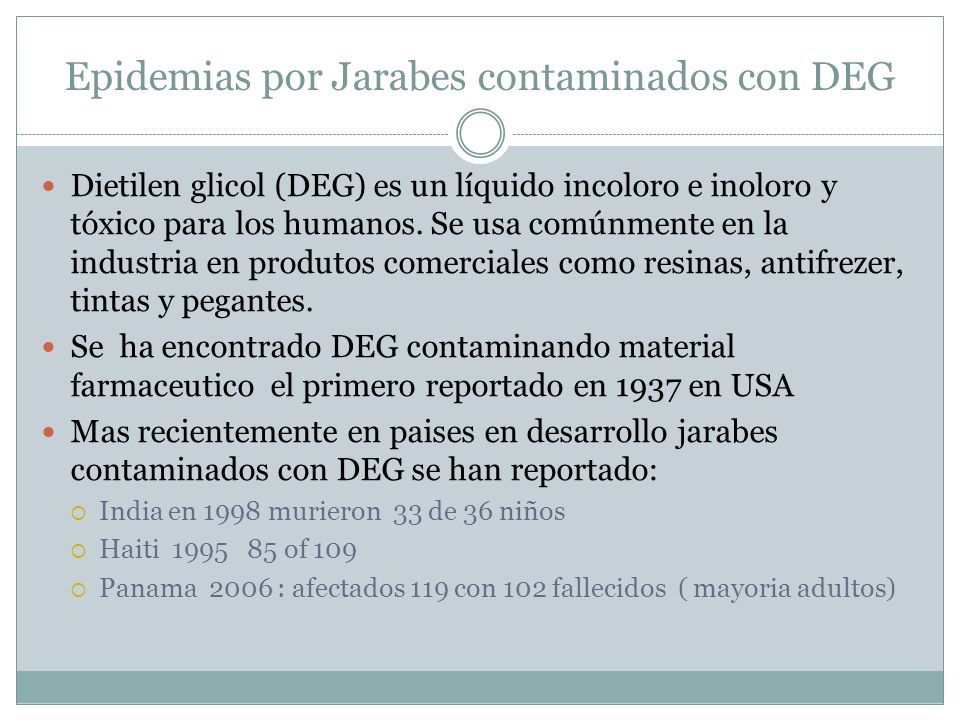 Epidemias por Jarabes contaminados con DEG