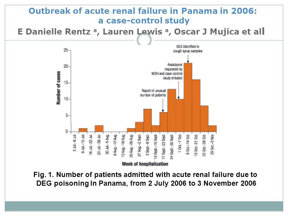 Outbreak of acute renal failure in Panama in 2006: a case-control study E Danielle Rentz a, Lauren Lewis a, Oscar J Mujica et all