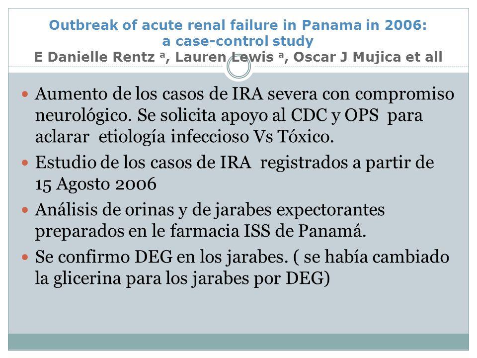 Estudio de los casos de IRA registrados a partir de 15 Agosto 2006
