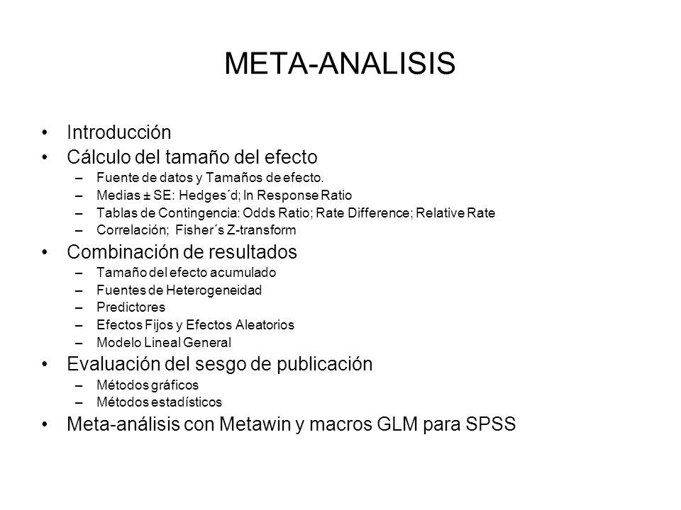 META-ANALISIS Introducción Cálculo del tamaño del efecto