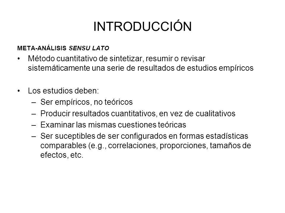 INTRODUCCIÓN META-ANÁLISIS SENSU LATO.