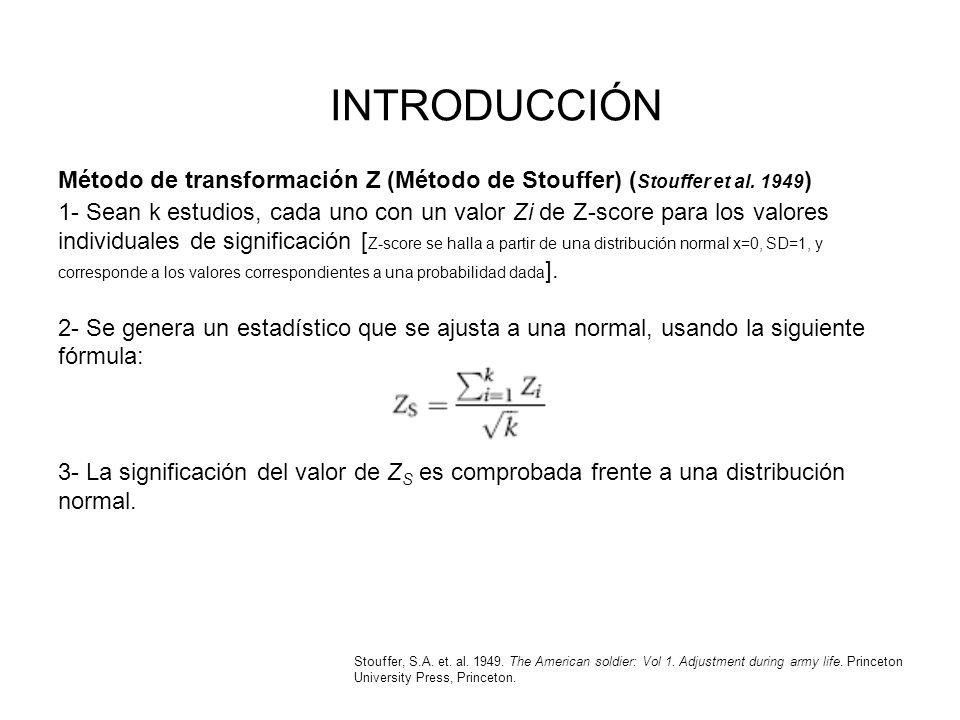 INTRODUCCIÓN Método de transformación Z (Método de Stouffer) (Stouffer et al. 1949)