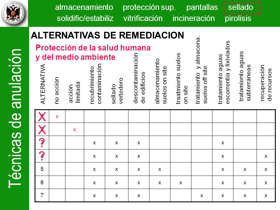 X X ALTERNATIVAS DE REMEDIACION