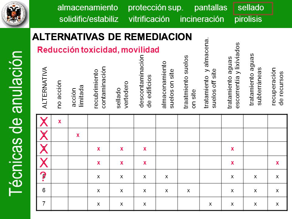 X X X X ALTERNATIVAS DE REMEDIACION ALTERNATIVAS DE REMEDIACION