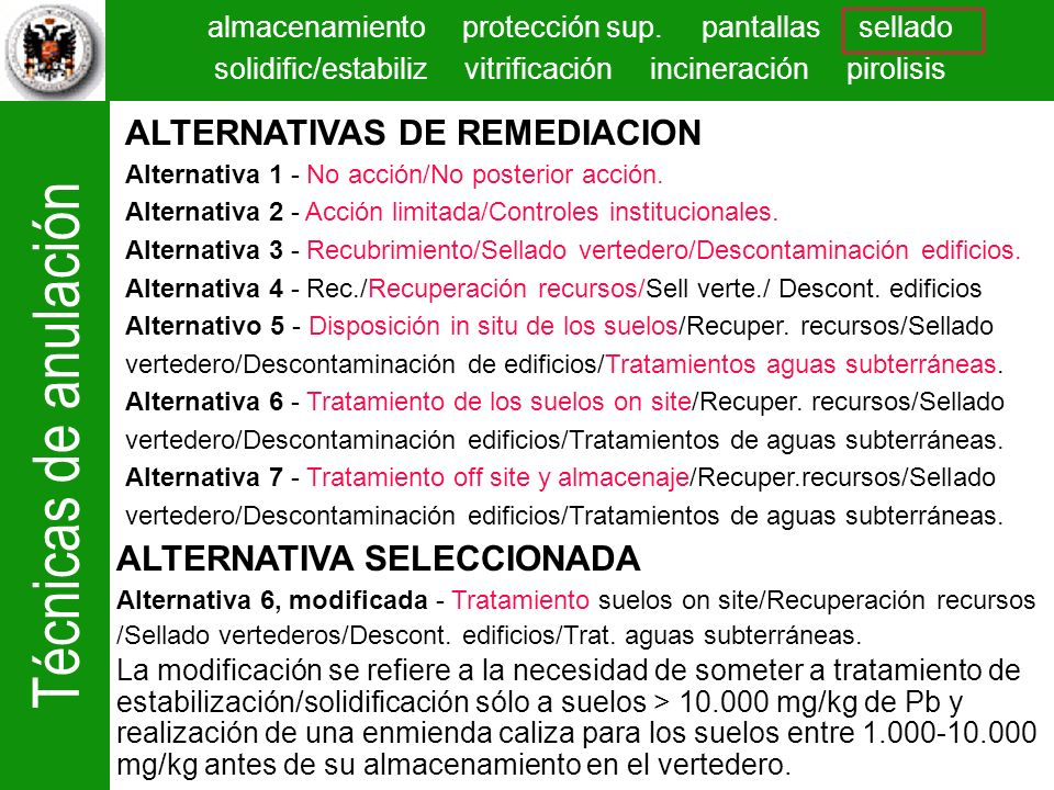 ALTERNATIVAS DE REMEDIACION