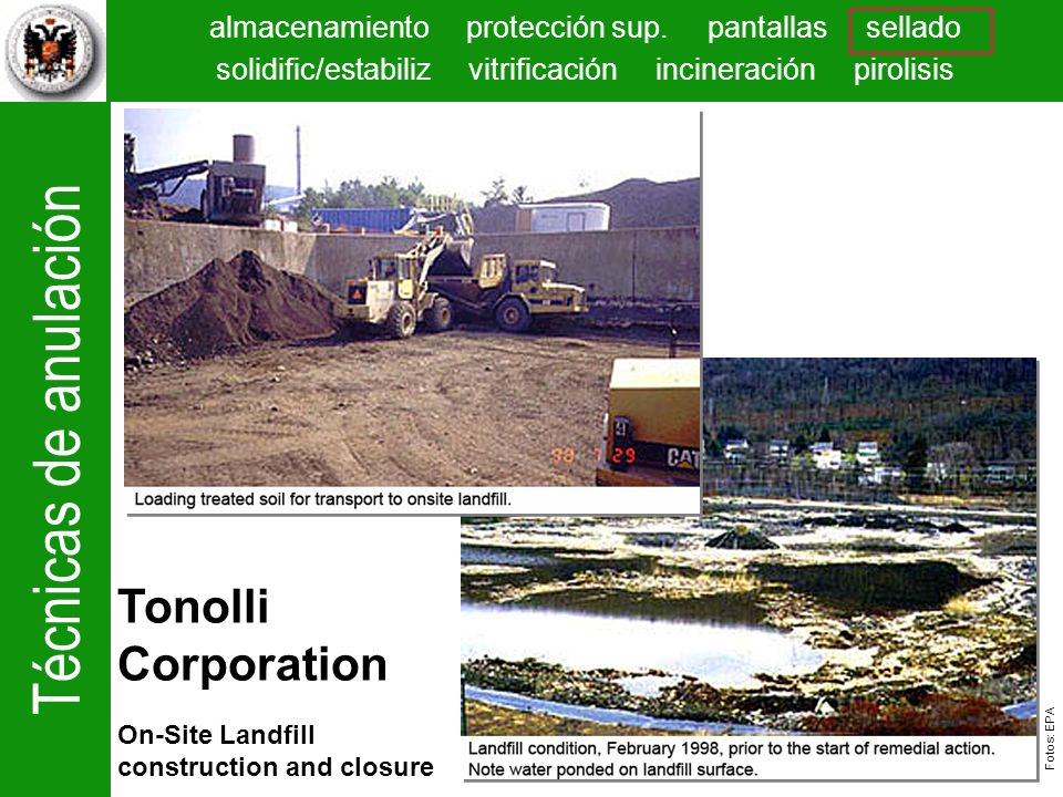 Tonolli Corporation On-Site Landfill construction and closure