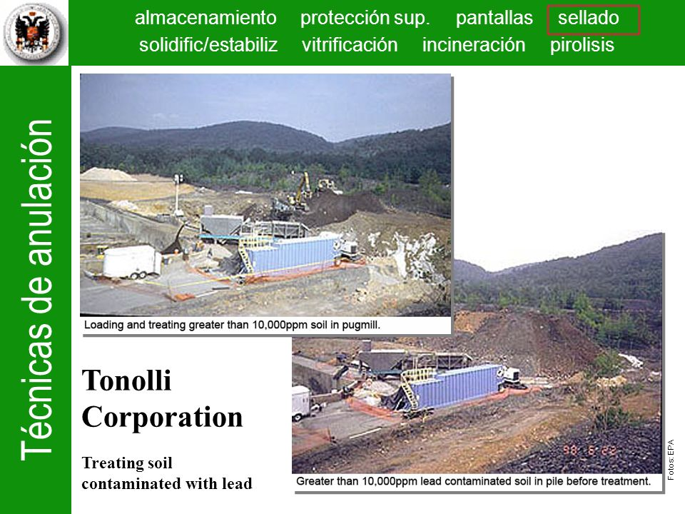 Tonolli Corporation Treating soil contaminated with lead