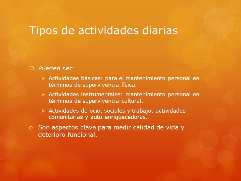 Tipos de actividades diarias