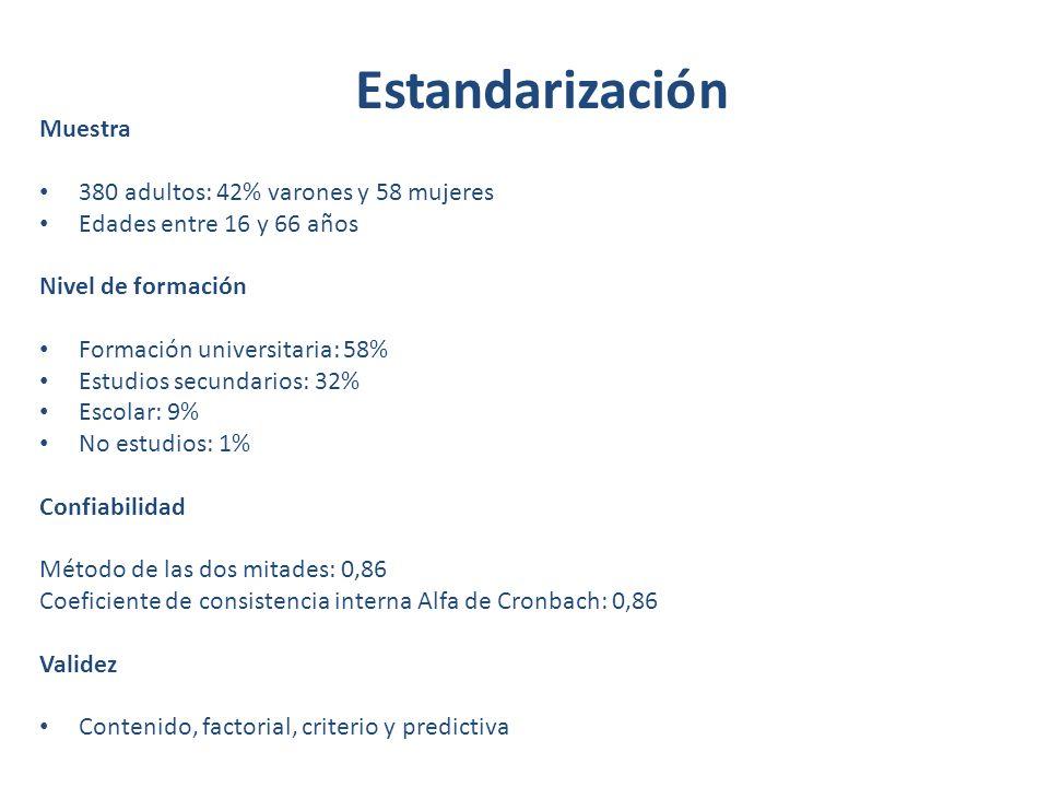 Estandarización Muestra 380 adultos: 42% varones y 58 mujeres