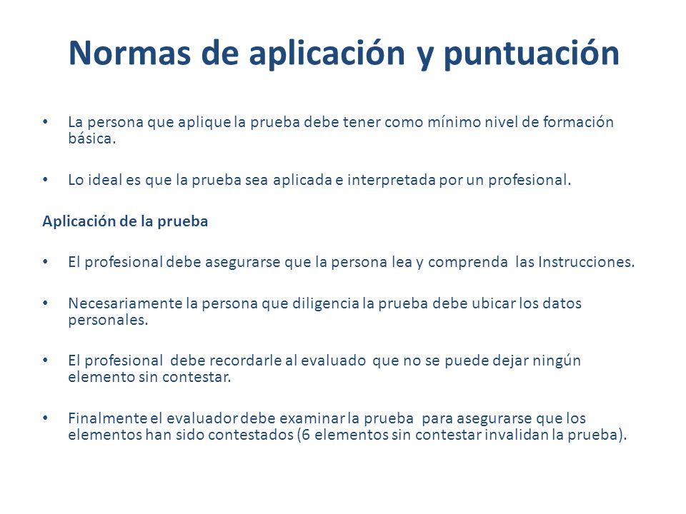 Normas de aplicación y puntuación