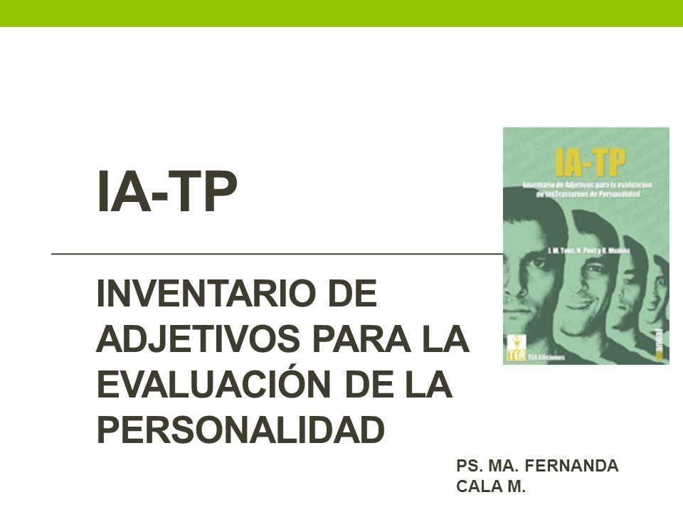 IA-TP Inventario de adjetivos para la evaluación de la personalidad
