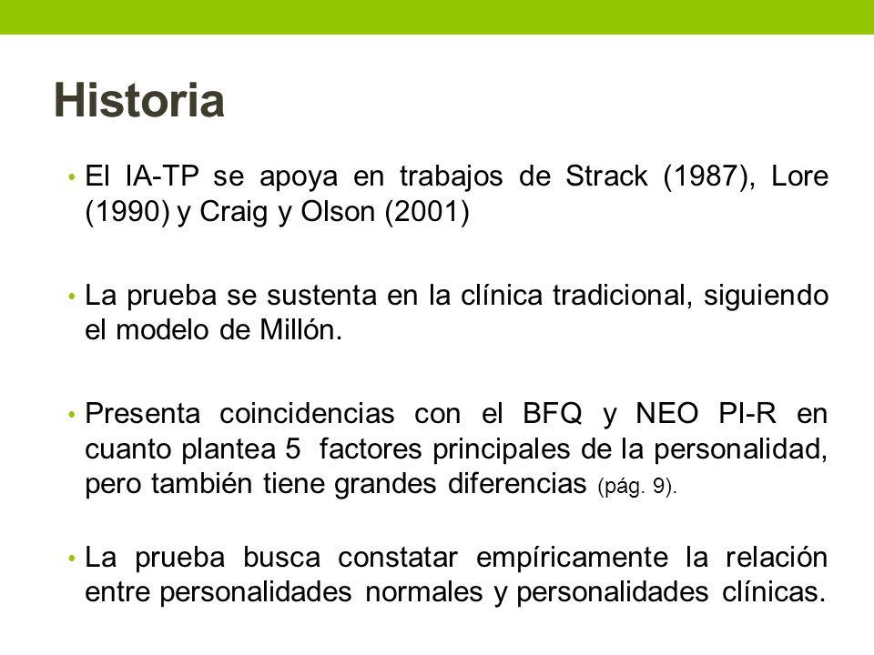 Historia El IA-TP se apoya en trabajos de Strack (1987), Lore (1990) y Craig y Olson (2001)