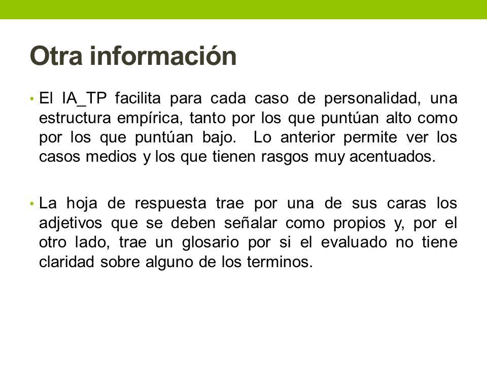 Otra información