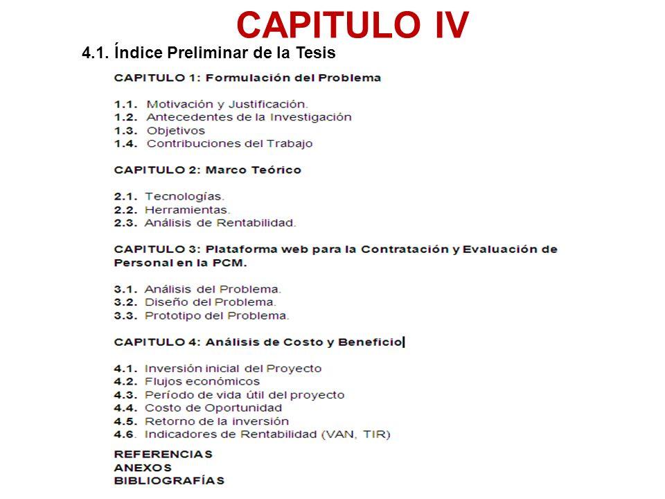 4.1. Índice Preliminar de la Tesis
