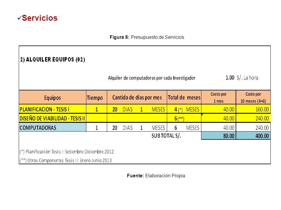 Servicios Figura 8: Presupuesto de Servicios