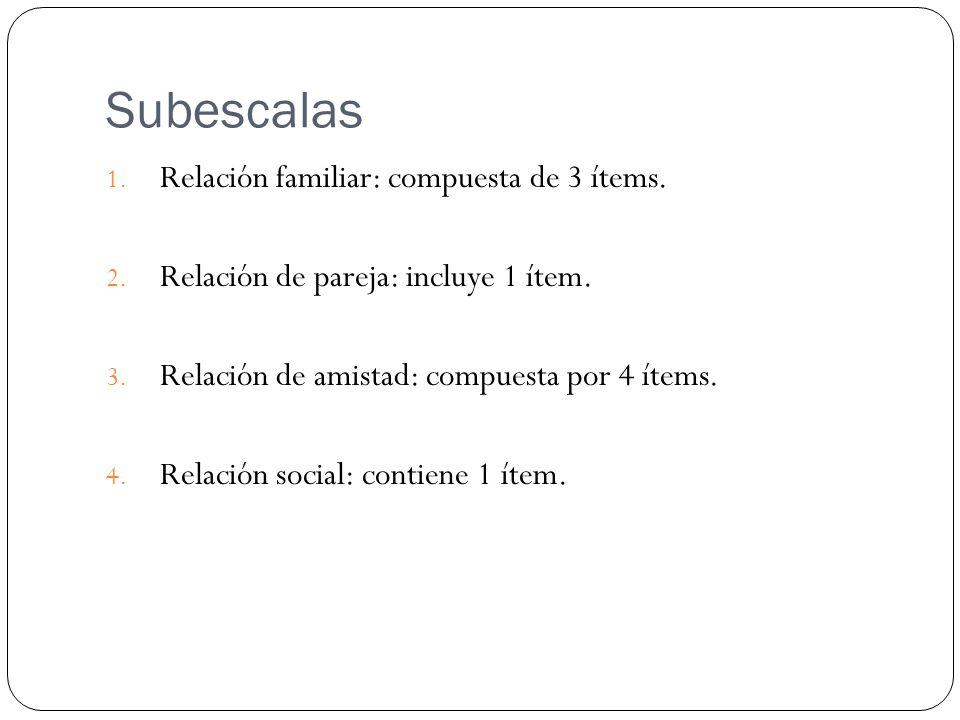 Subescalas Relación familiar: compuesta de 3 ítems.