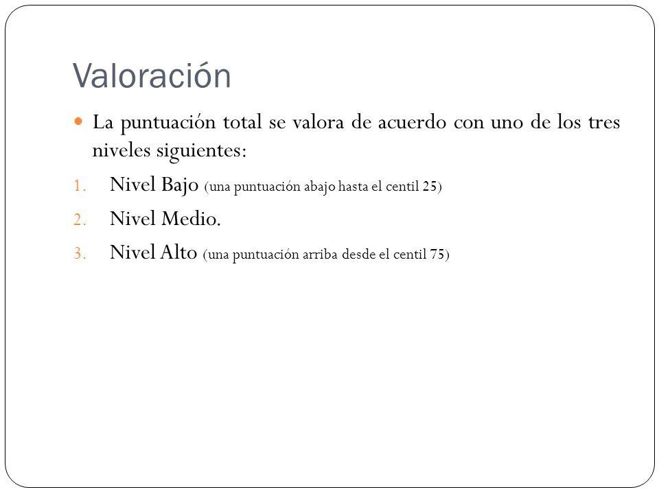 Valoración La puntuación total se valora de acuerdo con uno de los tres niveles siguientes: Nivel Bajo (una puntuación abajo hasta el centil 25)