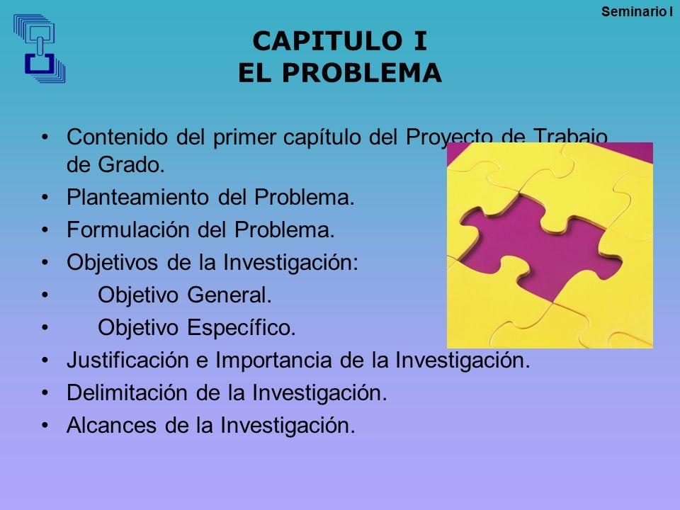 CAPITULO I EL PROBLEMA Contenido del primer capítulo del Proyecto de Trabajo de Grado. Planteamiento del Problema.