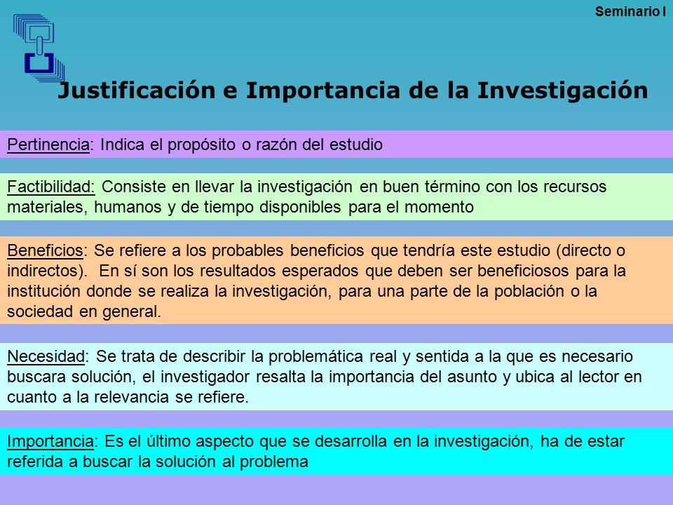Justificación e Importancia de la Investigación
