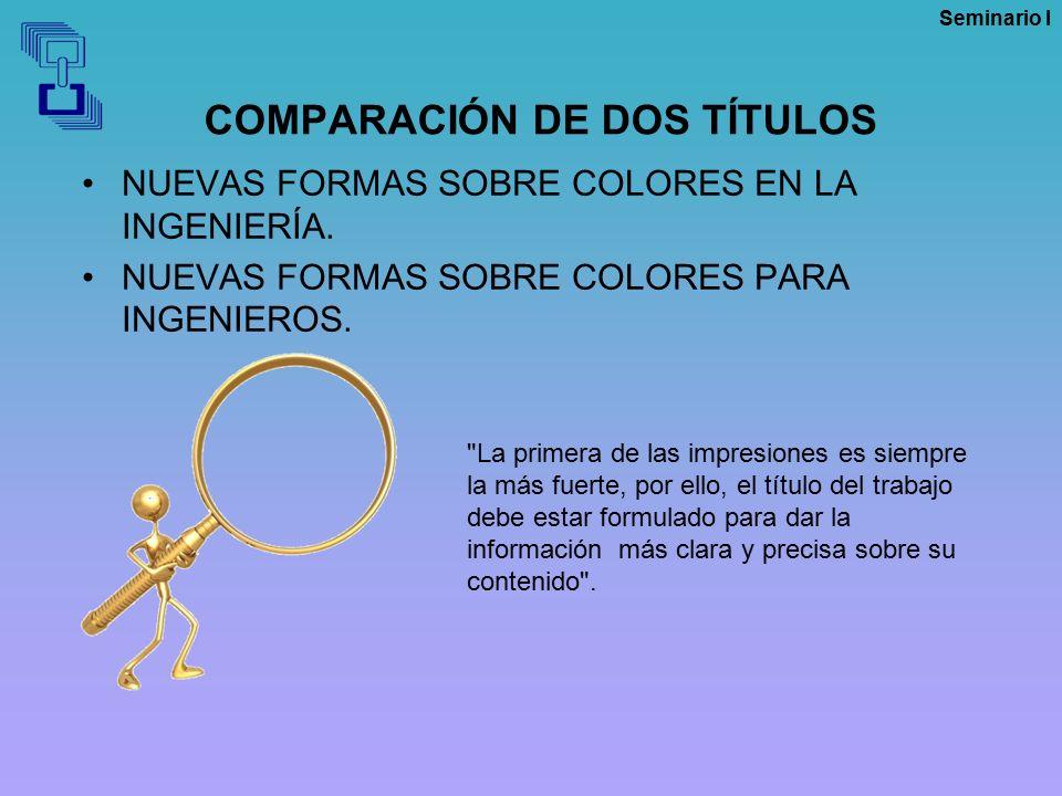 COMPARACIÓN DE DOS TÍTULOS