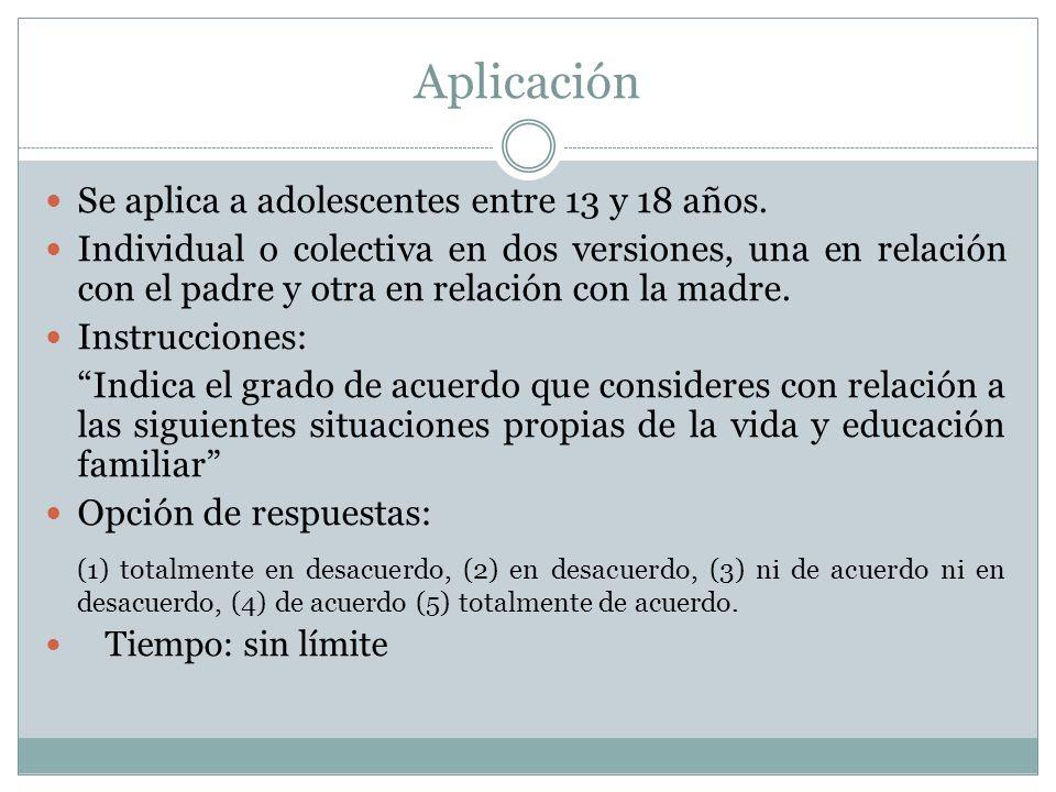 Aplicación Se aplica a adolescentes entre 13 y 18 años.