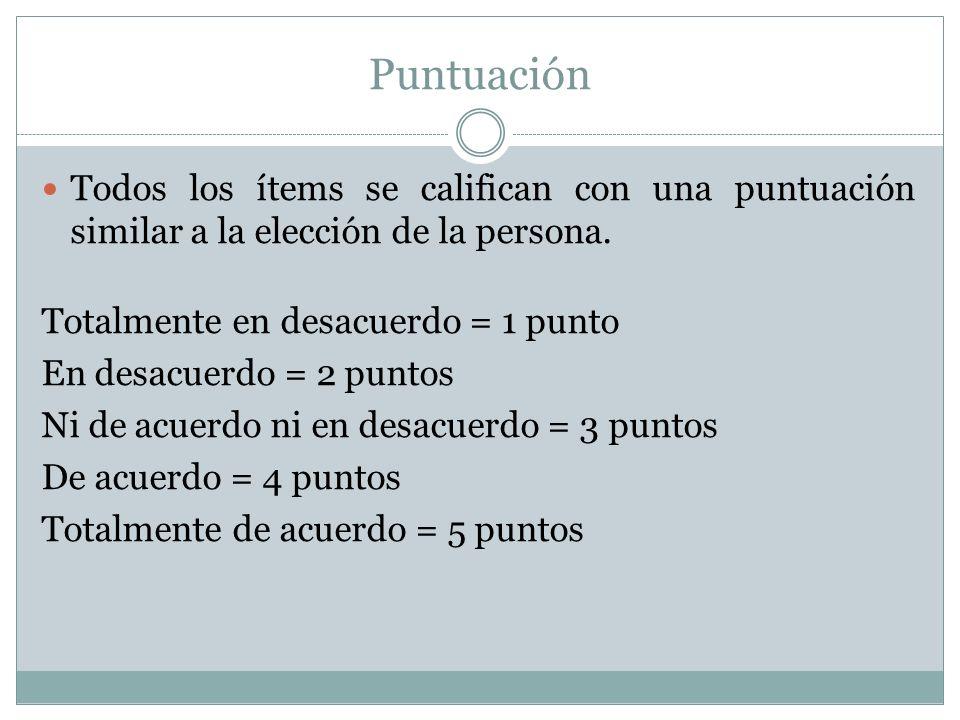 Puntuación Todos los ítems se califican con una puntuación similar a la elección de la persona. Totalmente en desacuerdo = 1 punto.