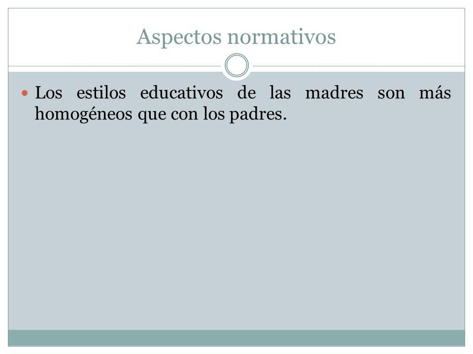 Aspectos normativos Los estilos educativos de las madres son más homogéneos que con los padres.