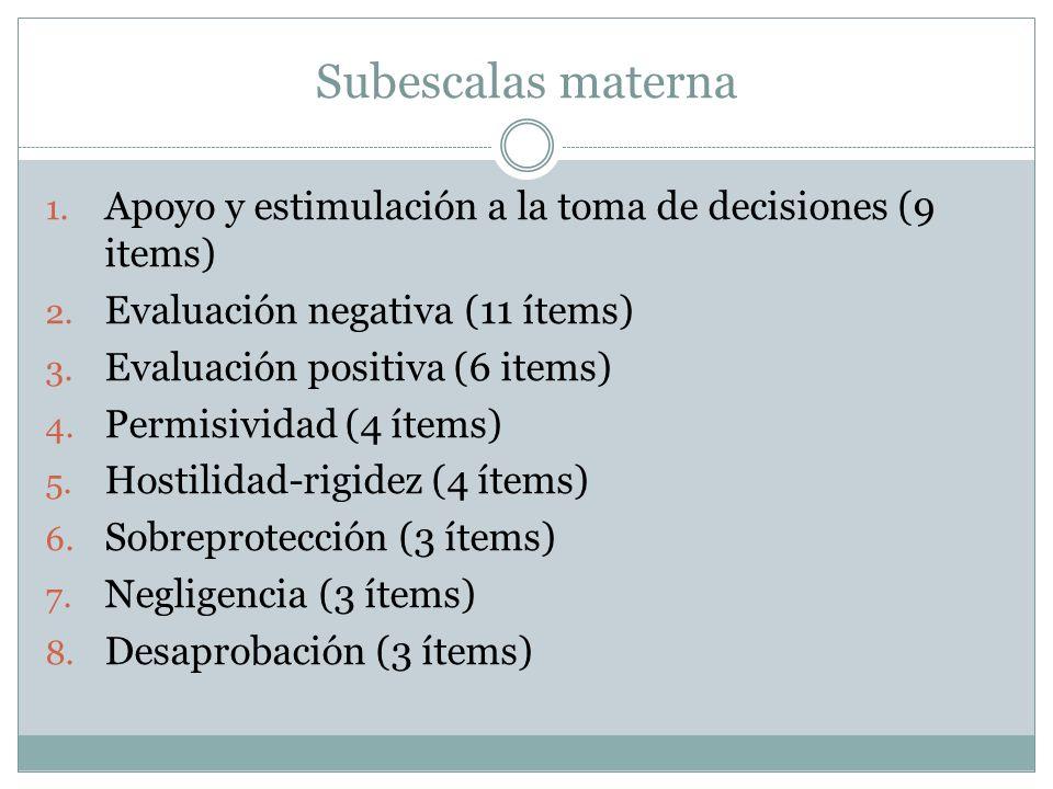 Subescalas materna Apoyo y estimulación a la toma de decisiones (9 items) Evaluación negativa (11 ítems)
