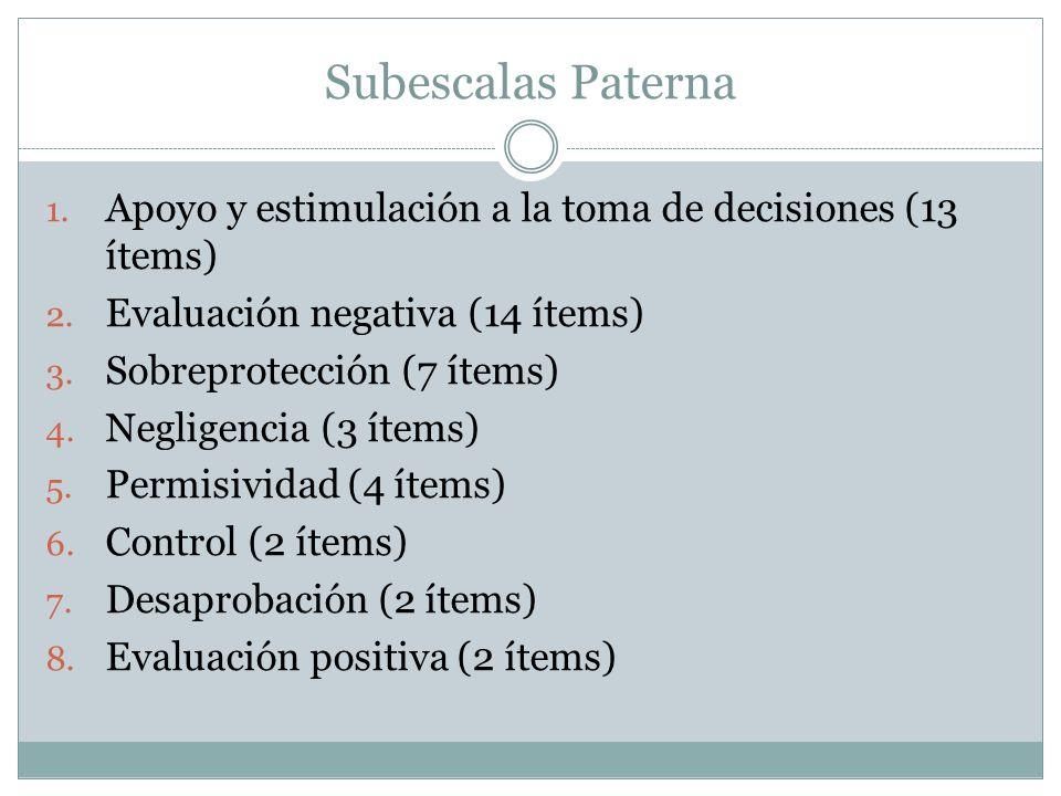 Subescalas Paterna Apoyo y estimulación a la toma de decisiones (13 ítems) Evaluación negativa (14 ítems)