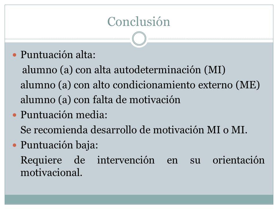 Conclusión Puntuación alta: alumno (a) con alta autodeterminación (MI)