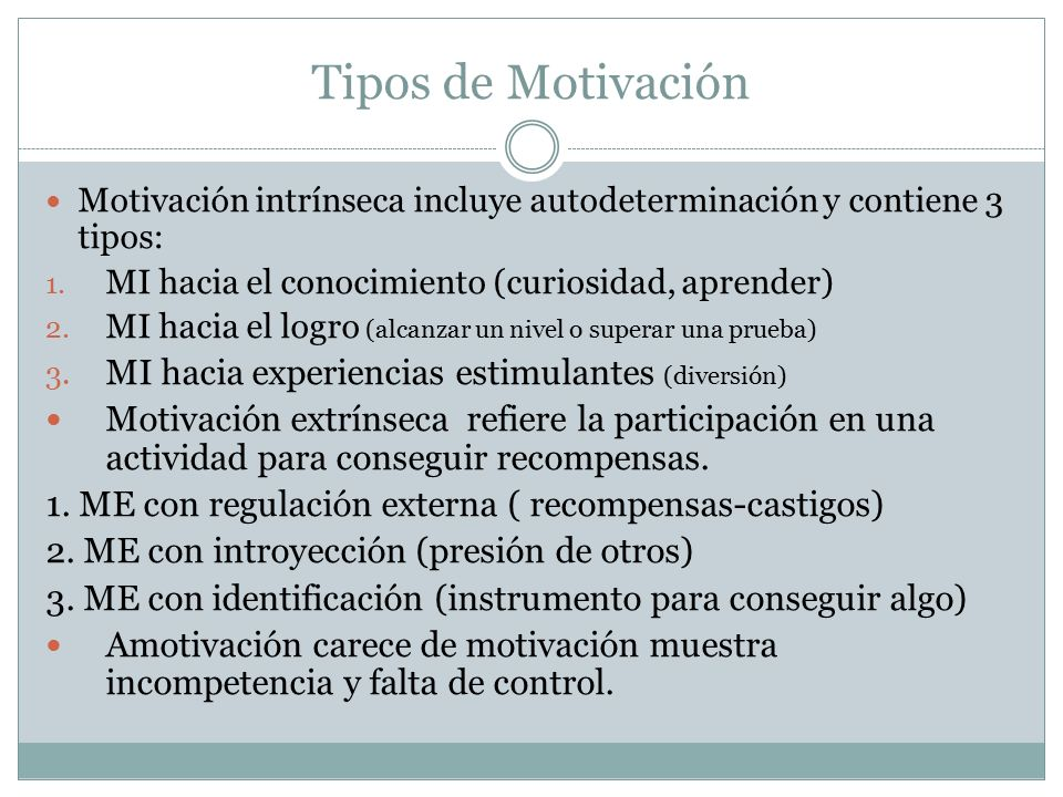 Tipos de Motivación MI hacia experiencias estimulantes (diversión)