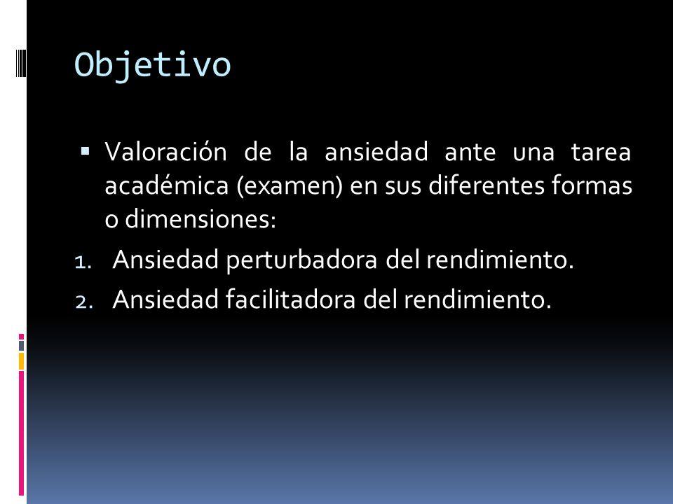Objetivo Valoración de la ansiedad ante una tarea académica (examen) en sus diferentes formas o dimensiones: