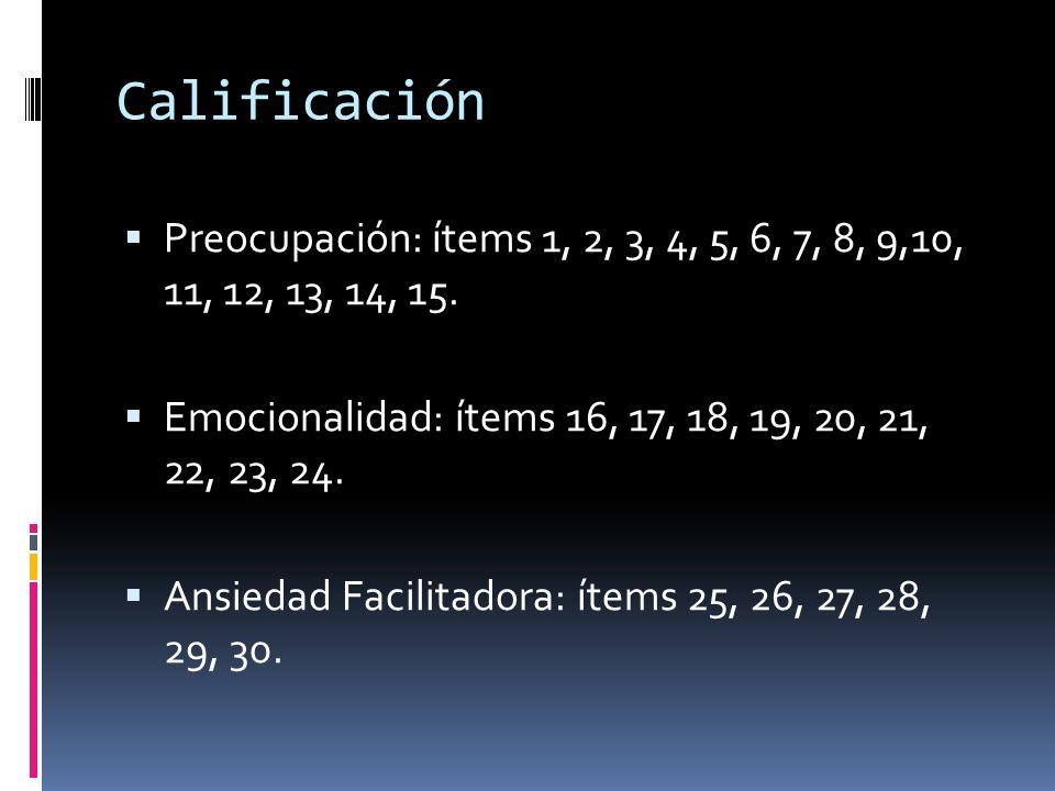 Calificación Preocupación: ítems 1, 2, 3, 4, 5, 6, 7, 8, 9,10, 11, 12, 13, 14, 15. Emocionalidad: ítems 16, 17, 18, 19, 20, 21, 22, 23, 24.