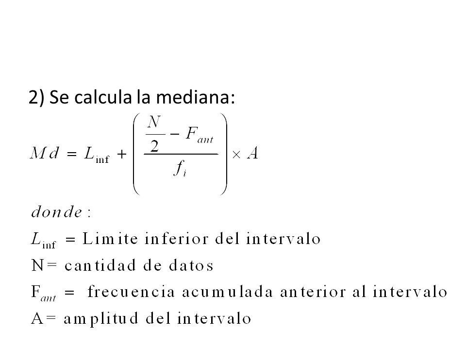 2) Se calcula la mediana: