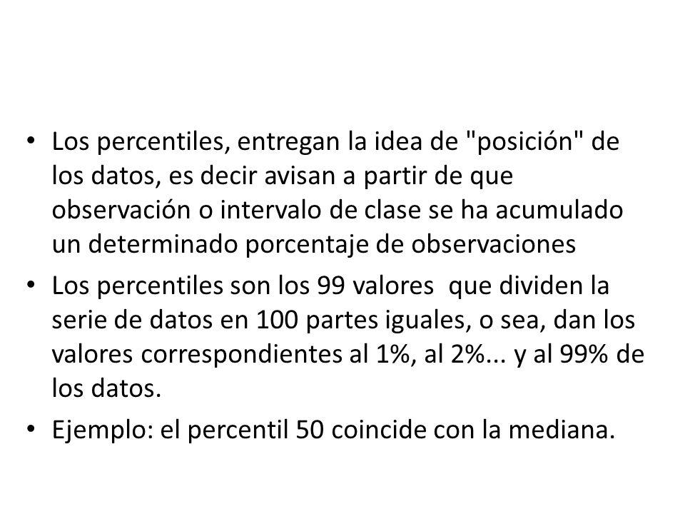 Los percentiles, entregan la idea de posición de los datos, es decir avisan a partir de que observación o intervalo de clase se ha acumulado un determinado porcentaje de observaciones