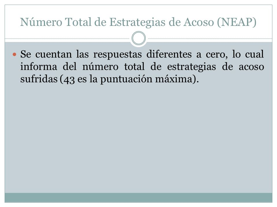 Número Total de Estrategias de Acoso (NEAP)