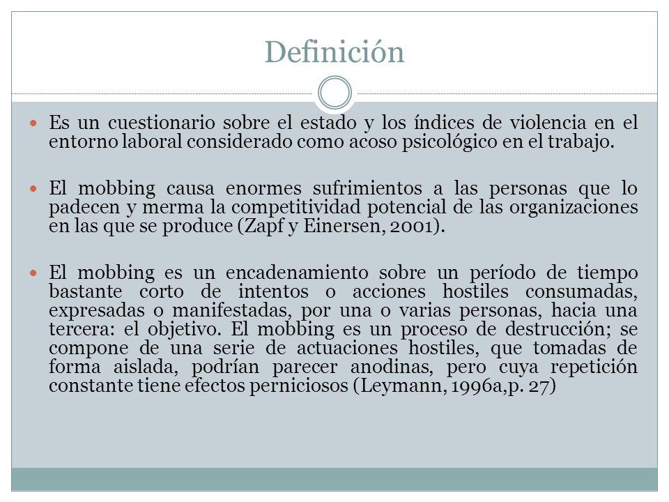 Definición Es un cuestionario sobre el estado y los índices de violencia en el entorno laboral considerado como acoso psicológico en el trabajo.