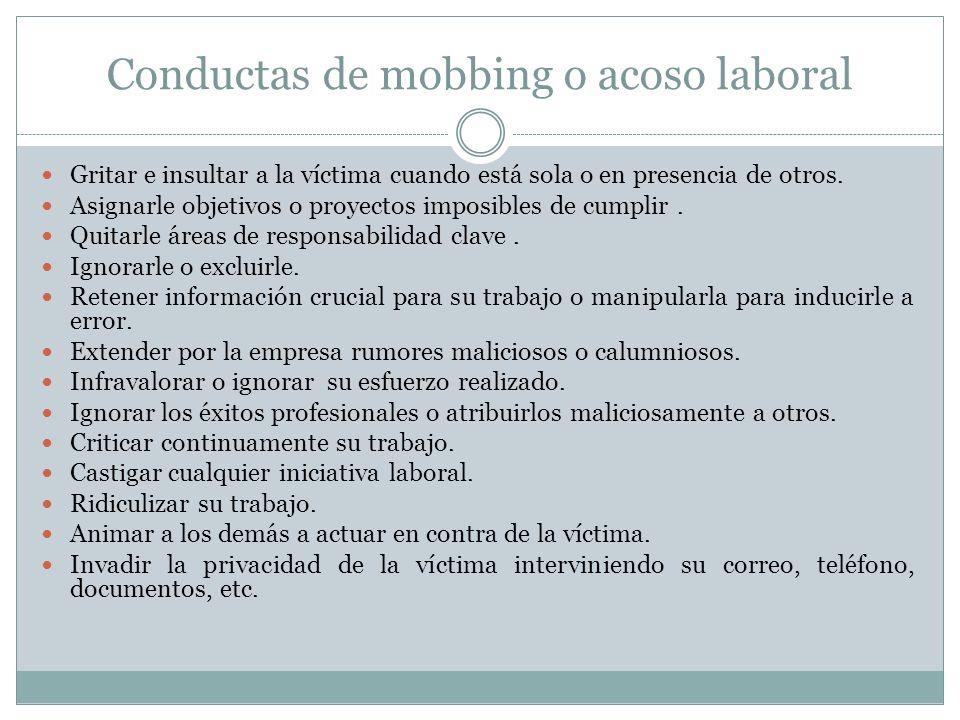 Conductas de mobbing o acoso laboral