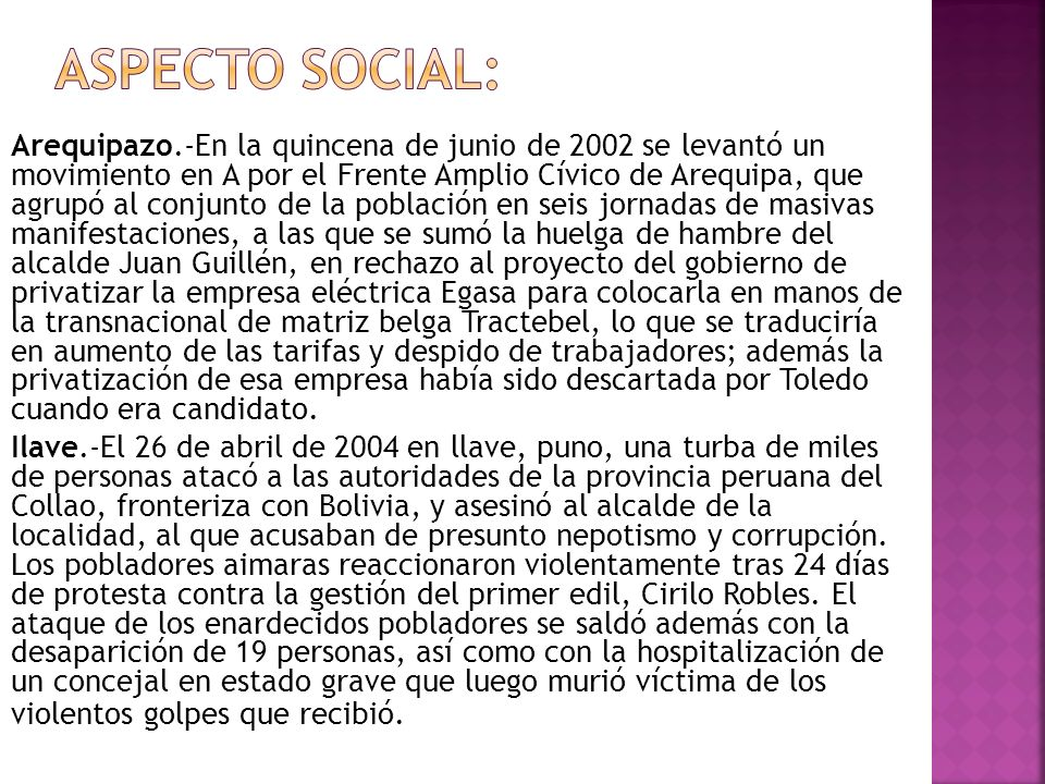 Aspecto social: