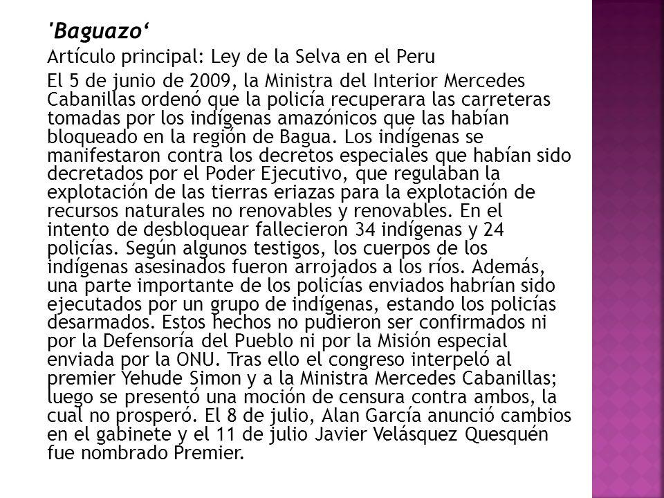 Baguazo' Artículo principal: Ley de la Selva en el Peru
