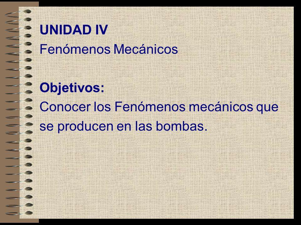 UNIDAD IV Fenómenos Mecánicos. Objetivos: Conocer los Fenómenos mecánicos que.