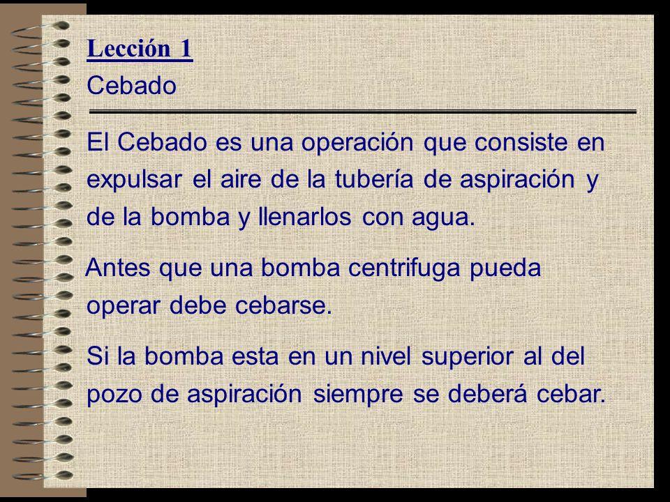 Lección 1 Cebado. El Cebado es una operación que consiste en. expulsar el aire de la tubería de aspiración y.