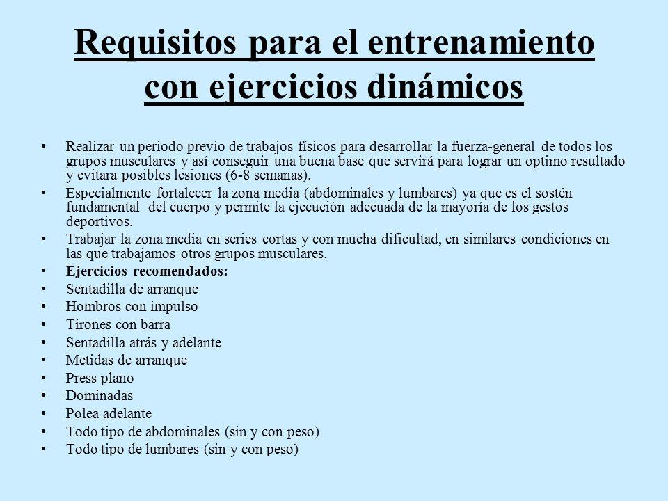 Requisitos para el entrenamiento con ejercicios dinámicos
